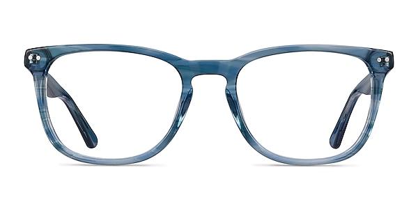 Gato Blue Striped Acetate Eyeglass Frames