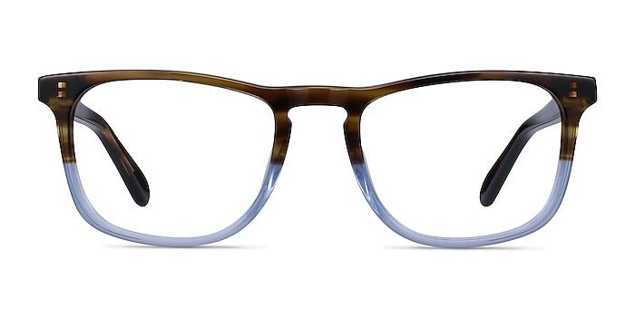 Found Brown Blue Acetate Eyeglass Frames from EyeBuyDirect
