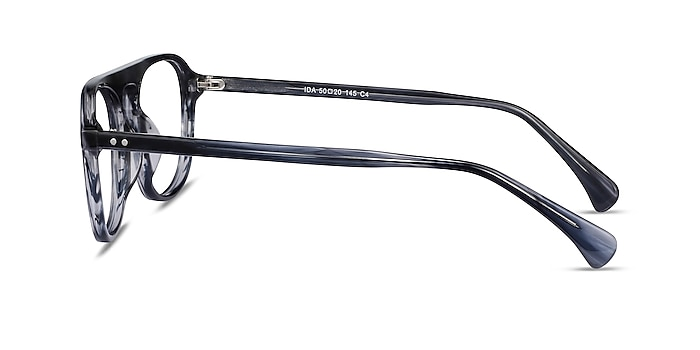 Ida Gray Striped Acétate Montures de lunettes de vue d'EyeBuyDirect