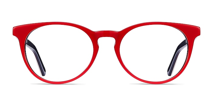 Tradition Red & Navy Acetate Eyeglass Frames from EyeBuyDirect