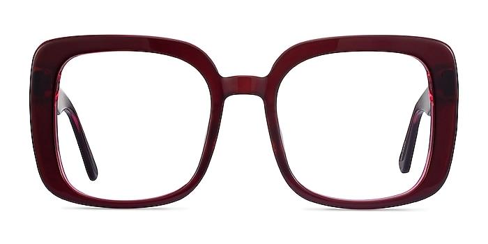 Heather Burgundy Acétate Montures de lunettes de vue d'EyeBuyDirect