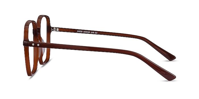 Sixto Café Acétate Montures de lunettes de vue d'EyeBuyDirect