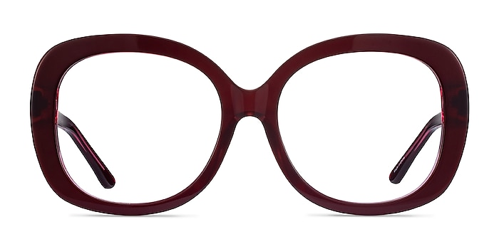Pamela Burgundy Acetate Eyeglass Frames from EyeBuyDirect