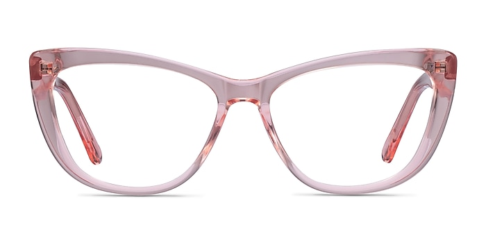 Charlotte Clear Pink Acetate Eyeglass Frames from EyeBuyDirect