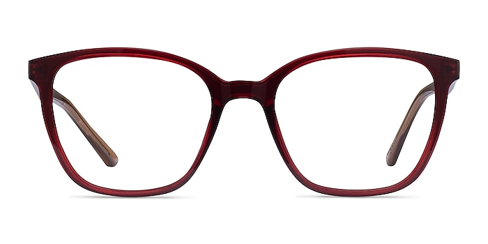 Identical Clear Red & Clear Brown Plastic Eyeglass Frames from EyeBuyDirect