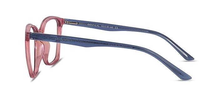 Identical Clear Pink & Clear Blue Plastic Eyeglass Frames from EyeBuyDirect