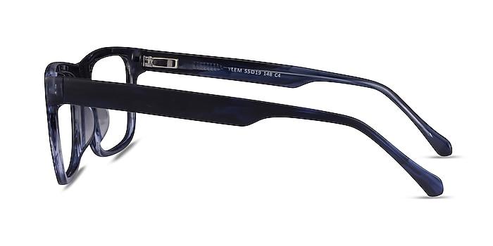 Ylem Matte Blue Striped Acétate Montures de lunettes de vue d'EyeBuyDirect