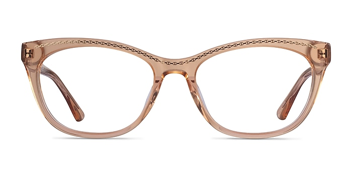 Arabesque Clear Orange Gold Acetate Eyeglass Frames from EyeBuyDirect