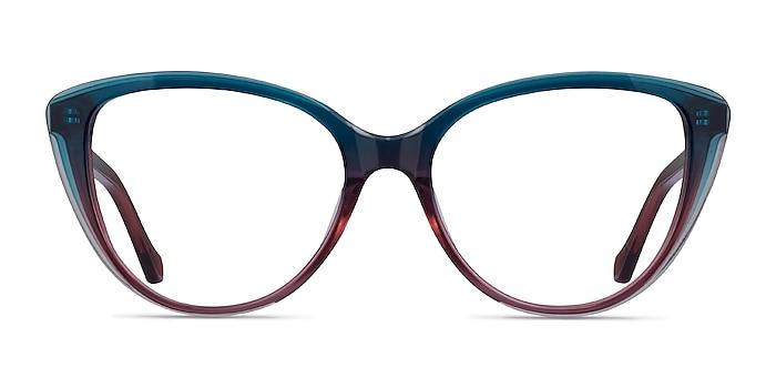 Destin Blue Burgundy Acetate Eyeglass Frames from EyeBuyDirect