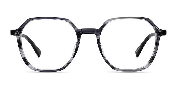 Oscar Gray Striped   Black Acetate Eyeglass Frames