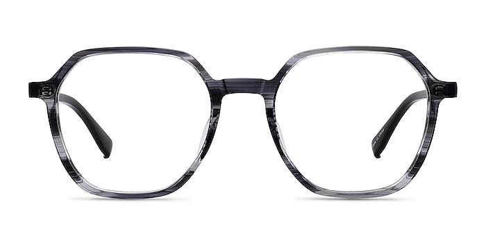 Oscar Gray Striped   Black Acetate Eyeglass Frames from EyeBuyDirect