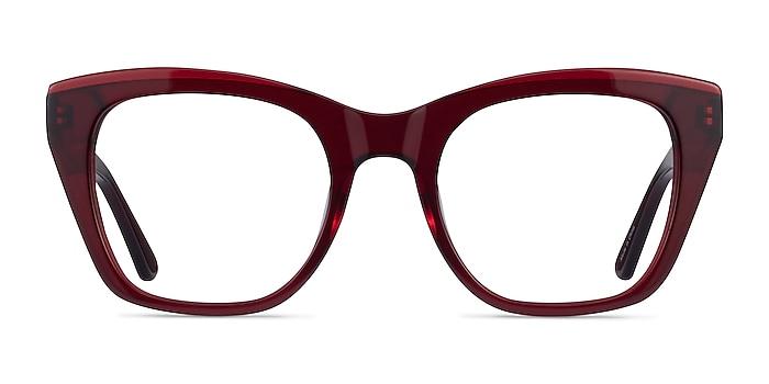Cassie Burgundy Acétate Montures de lunettes de vue d'EyeBuyDirect