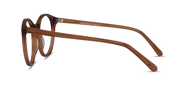Latta Clear Brown Acétate Montures de lunettes de vue d'EyeBuyDirect