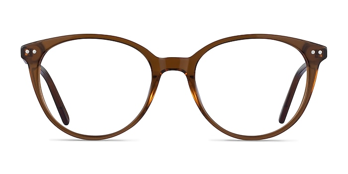 Leonia Clear Brown Acetate Eyeglass Frames from EyeBuyDirect