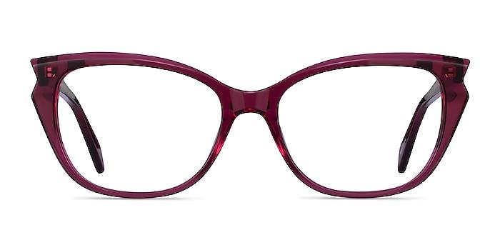 Maple Clear Burgundy Acetate Eyeglass Frames from EyeBuyDirect