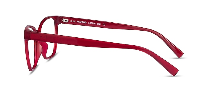 Almond Clear Red Plastic Eyeglass Frames from EyeBuyDirect