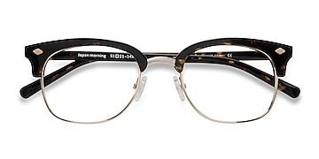 Dark Tortoise  Japan Morning -  Designer Acetate, Metal Eyeglasses