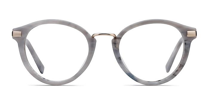Yuke Light Gray Acetate-metal Eyeglass Frames from EyeBuyDirect