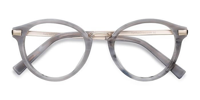 Light Gray Yuke -  Acetate, Metal Eyeglasses