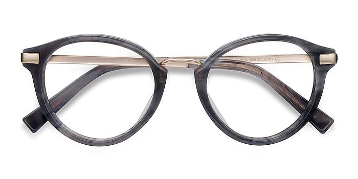Dark Gray Yuke -  Designer Acetate, Metal Eyeglasses