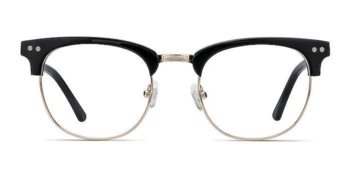 Borderline Noir Acetate-metal Montures de lunettes de vue d'EyeBuyDirect