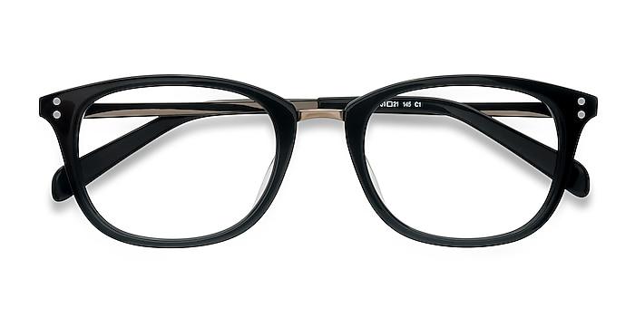 Black Synopsis -  Vintage Acetate, Metal Eyeglasses