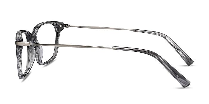 Motion Gray Striped Acetate-metal Montures de lunettes de vue d'EyeBuyDirect