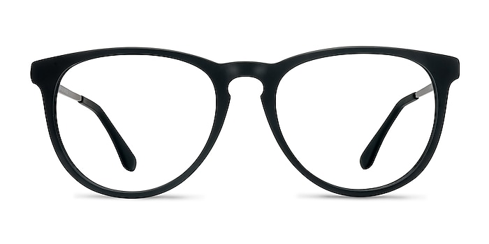 Ultraviolet Matte Black Acetate-metal Montures de lunettes de vue d'EyeBuyDirect