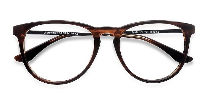 Brown Striped Ultraviolet -  Acetate, Metal Eyeglasses