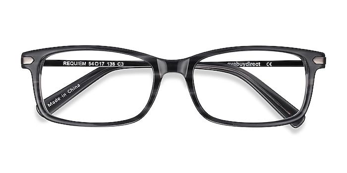 Gray Striped Requiem -  Lightweight Acetate, Metal Eyeglasses