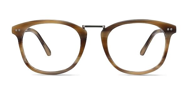 Era Brown Striped Acetate-metal Eyeglass Frames