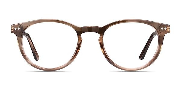 Traveller Brown Striped Acetate-metal Eyeglass Frames