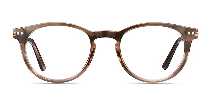 Traveller Brown Striped Acetate-metal Montures de lunettes de vue d'EyeBuyDirect