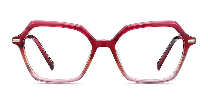 Carmel Raspberry Striped Acetate-metal Eyeglass Frames from EyeBuyDirect