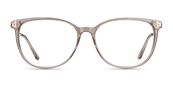 Nebulous Clear Brown Acetate-metal Eyeglass Frames