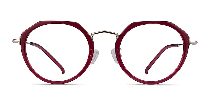 Claire Raspberry  Gold Acetate Eyeglass Frames from EyeBuyDirect
