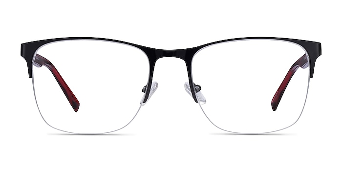 Emmerson Shiny Black & Red Acetate-metal Eyeglass Frames from EyeBuyDirect