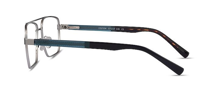 Colton Silver, Clear Blue & Tortoise Acétate Montures de lunettes de vue d'EyeBuyDirect