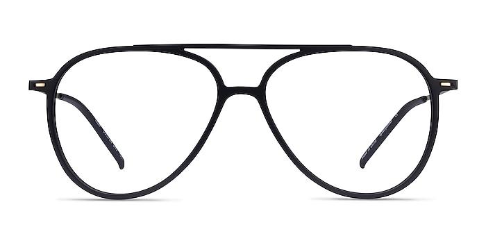 Clip Matte Black & Gold Plastic-metal Montures de lunettes de vue d'EyeBuyDirect
