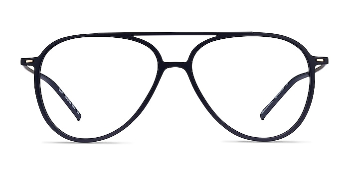 Clip Matte Navy & Gold Plastic-metal Eyeglass Frames from EyeBuyDirect