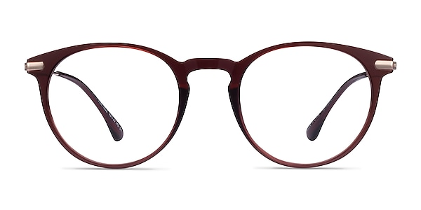 Particle Clear Red & Rose Gold Plastic-metal Eyeglass Frames
