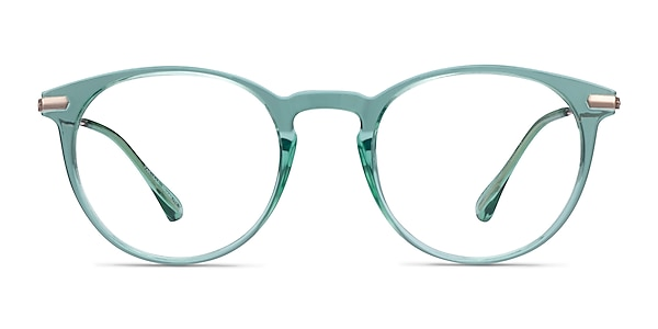 Particle Clear Green & Rose Gold Plastic-metal Eyeglass Frames
