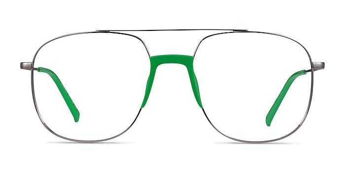 Subject Gunmetal & Green Acetate-metal Eyeglass Frames from EyeBuyDirect