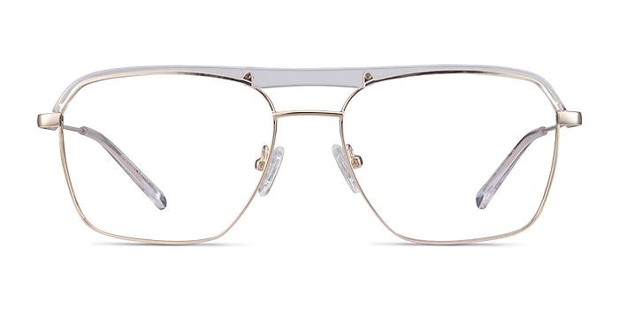 Dynamo Clear & Gold Acetate-metal Eyeglass Frames from EyeBuyDirect