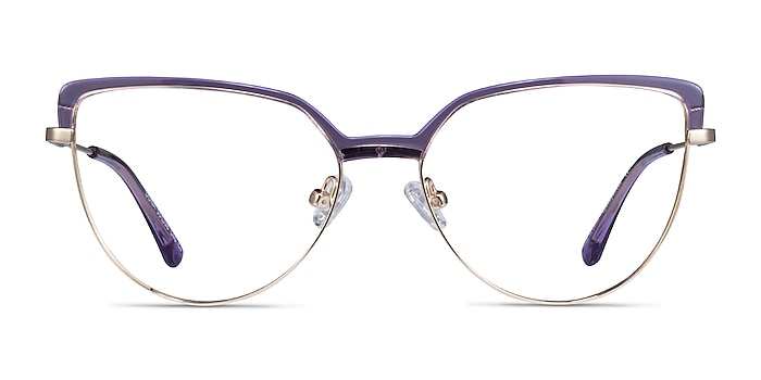 Dona Clear Purple & Gold Acetate-metal Eyeglass Frames from EyeBuyDirect