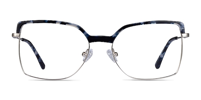 Further Blue Floral & Silver Acetate-metal Eyeglass Frames from EyeBuyDirect