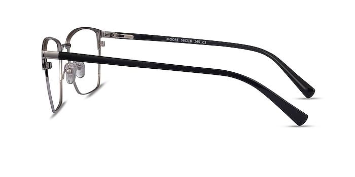 Moore Black Silver Acetate Eyeglass Frames from EyeBuyDirect