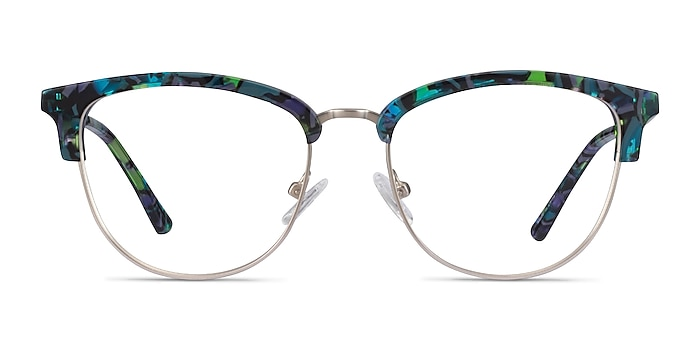 Sophisticated Blue Floral & Silver Acetate-metal Eyeglass Frames from EyeBuyDirect