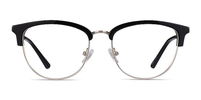 Sophisticated Black & Silver Acetate-metal Eyeglass Frames from EyeBuyDirect