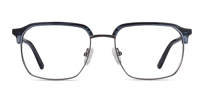 Break Blue Striped & Gunmetal Acetate-metal Montures de lunettes de vue d'EyeBuyDirect